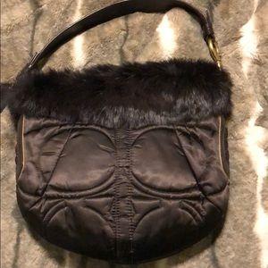 Coach satin fur hobo bag